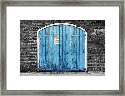 Colorful Blue Garage Door French Quarter New Orleans Color Splash Black And White And Poster Edges Framed Print by Shawn O'Brien
