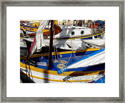 Colorful Boats Framed Print by Lainie Wrightson