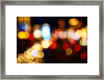 Colorful Bokeh Lights In The City - F Framed Print by Gillham Studios