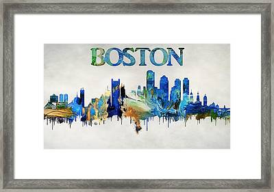 Colorful Boston Skyline Framed Print by Dan Sproul
