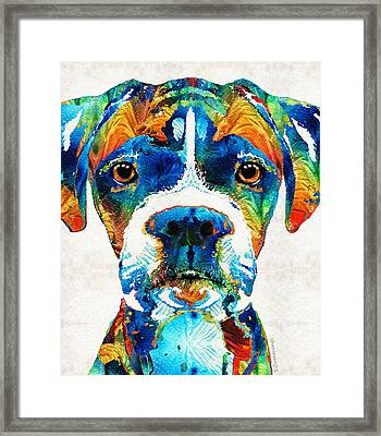 Colorful Boxer Dog Art By Sharon Cummings  Framed Print