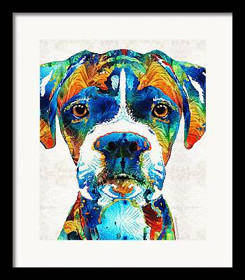 Fawn Boxer Framed Prints
