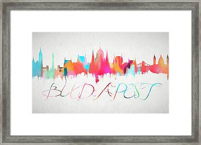 Colorful Budapest Skyline Framed Print