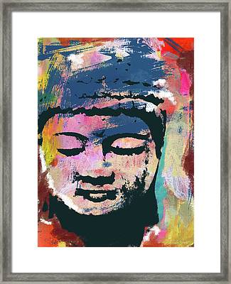 Colorful Buddha 1- Art By Linda Woods Framed Print