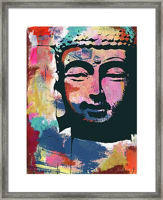 Colorful Buddha 2- Art By Linda Woods Framed Print