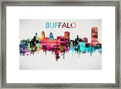 Colorful Buffalo Skyline Silhouette Framed Print by Dan Sproul