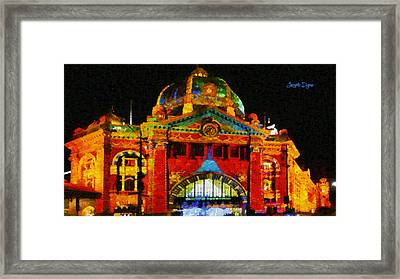 Colorful Building At Night - Pa Framed Print
