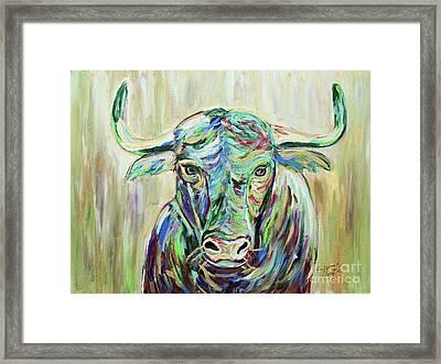 Colorful Bull Framed Print