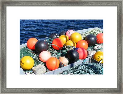 Framed Print featuring the photograph Colorful Buoys by Barbara Griffin