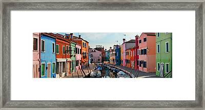 Framed Print featuring the photograph Colorful Burano Canal Panorama View by Songquan Deng