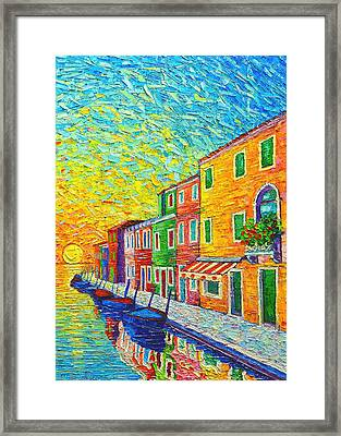 Colorful Burano Sunrise - Venice - Italy - Palette Knife Oil Painting By Ana Maria Edulescu Framed Print