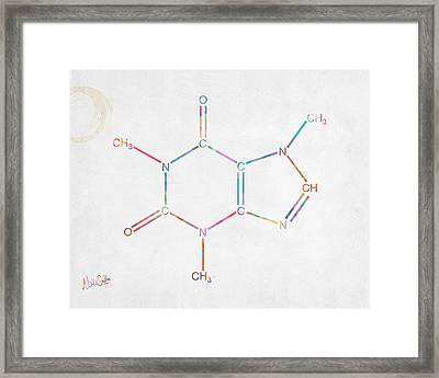 Colorful Caffeine Molecular Structure Framed Print