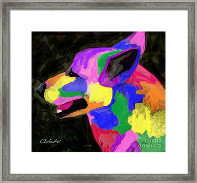 Colorful Canine Framed Print by Jean Clarke