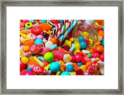 Colorful Candy Pile Framed Print by Garry Gay