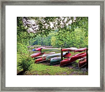 Colorful Canoes At Hungry Mother State Park Framed Print