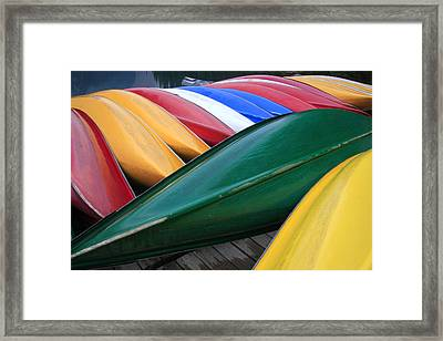 Colorful Canoes Framed Print by Catherine Alfidi