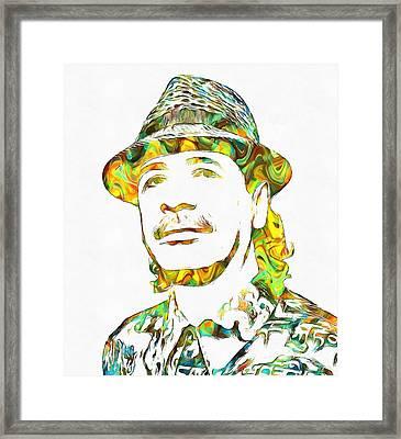 Colorful Carlos Santana Framed Print by Dan Sproul