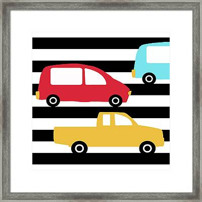 Colorful Cars- Art By Linda Woods Framed Print