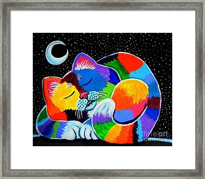 Colorful Cat In The Moonlight Framed Print