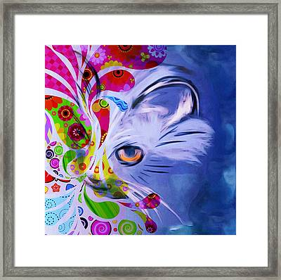 Colorful Cat World Framed Print