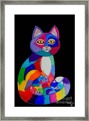 Colorful Cats And Kittens Framed Print