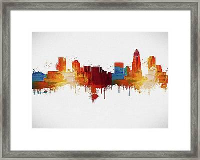 Colorful Charlotte Skyline Silhouette Framed Print