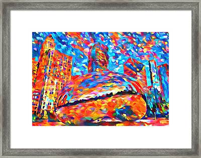Framed Print featuring the painting Colorful Chicago Bean by Dan Sproul
