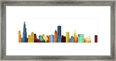 Colorful Chicago Skyline Framed Print by Art Spectrum