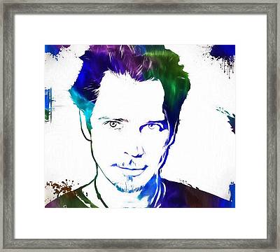 Colorful Chris Cornell Framed Print by Dan Sproul