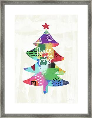 Colorful Christmas Tree- Art By Linda Woods Framed Print by Linda Woods
