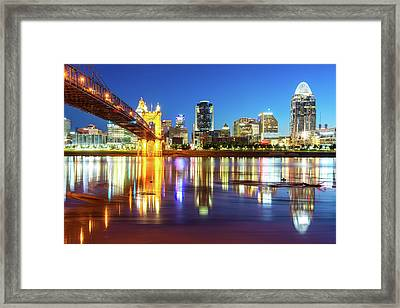 Framed Print featuring the photograph Colorful Cincinnati Ohio River Skyline by Gregory Ballos