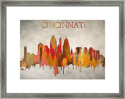 Colorful Cincinnati Ohio Skyline Framed Print