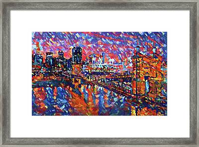 Colorful Cincinnati Skyline Framed Print by Dan Sproul