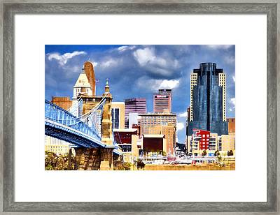 Colorful Cincinnati Skyline Framed Print
