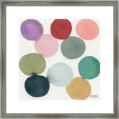 Colorful Circles Abstract Watercolor Framed Print by Beverly Brown