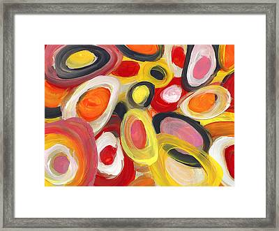 Colorful Circles In Motion 2 Framed Print by Amy Vangsgard