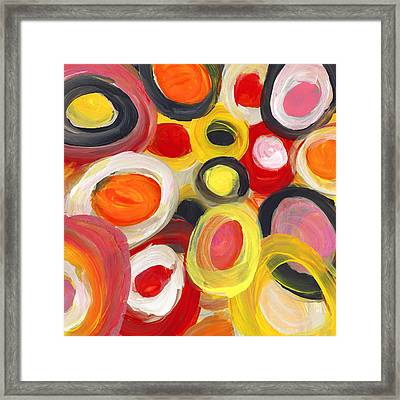 Colorful Circles In Motion Square 3 Framed Print