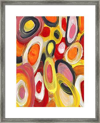 Colorful Circles In Motion Vertical Framed Print by Amy Vangsgard