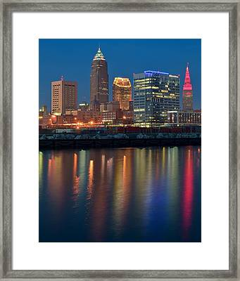 Colorful Cleveland Lights Framed Print by Frozen in Time Fine Art Photography