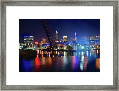 Colorful Cleveland Lights Shimmer Bright Framed Print by Frozen in Time Fine Art Photography