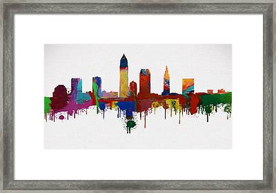 Colorful Cleveland Skyline Silhouette Framed Print by Dan Sproul