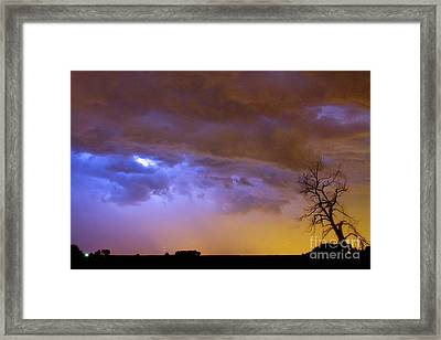 Colorful Cloud To Cloud Lightning Stormy Sky Framed Print