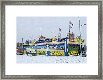 Colorful Coney Island Stand Framed Print by Andrew Kazmierski