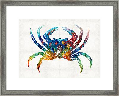 Colorful Crab Art By Sharon Cummings Framed Print