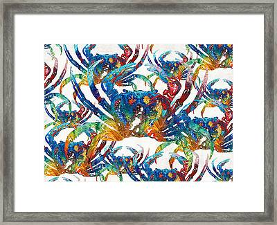 Colorful Crab Collage Art By Sharon Cummings Framed Print by Sharon Cummings