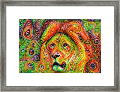 Colorful Crazy Lion Deep Dream Framed Print by Matthias Hauser