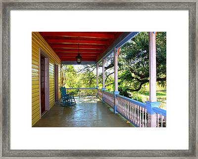 Colorful Creole Porch Framed Print by Carol Groenen