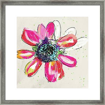 Framed Print featuring the mixed media Colorful Daisy- Art By Linda Woods by Linda Woods
