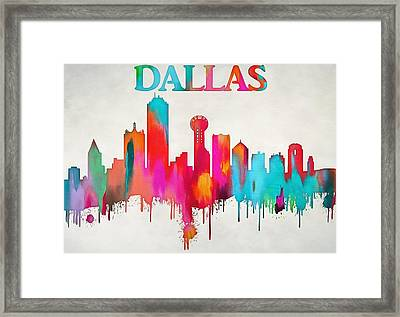 Colorful Dallas Skyline Silhouette Framed Print