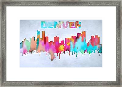 Colorful Denver Skyline Silhouette Framed Print by Dan Sproul